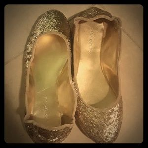 (3 for $20) Ann taylor gold glitter size 6.5 flats